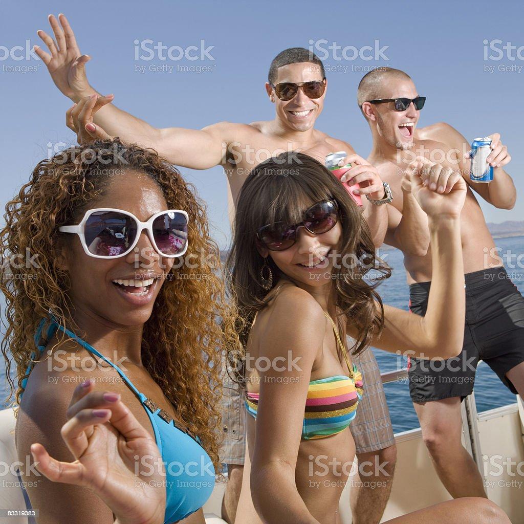 Partying on a boat royaltyfri bildbanksbilder