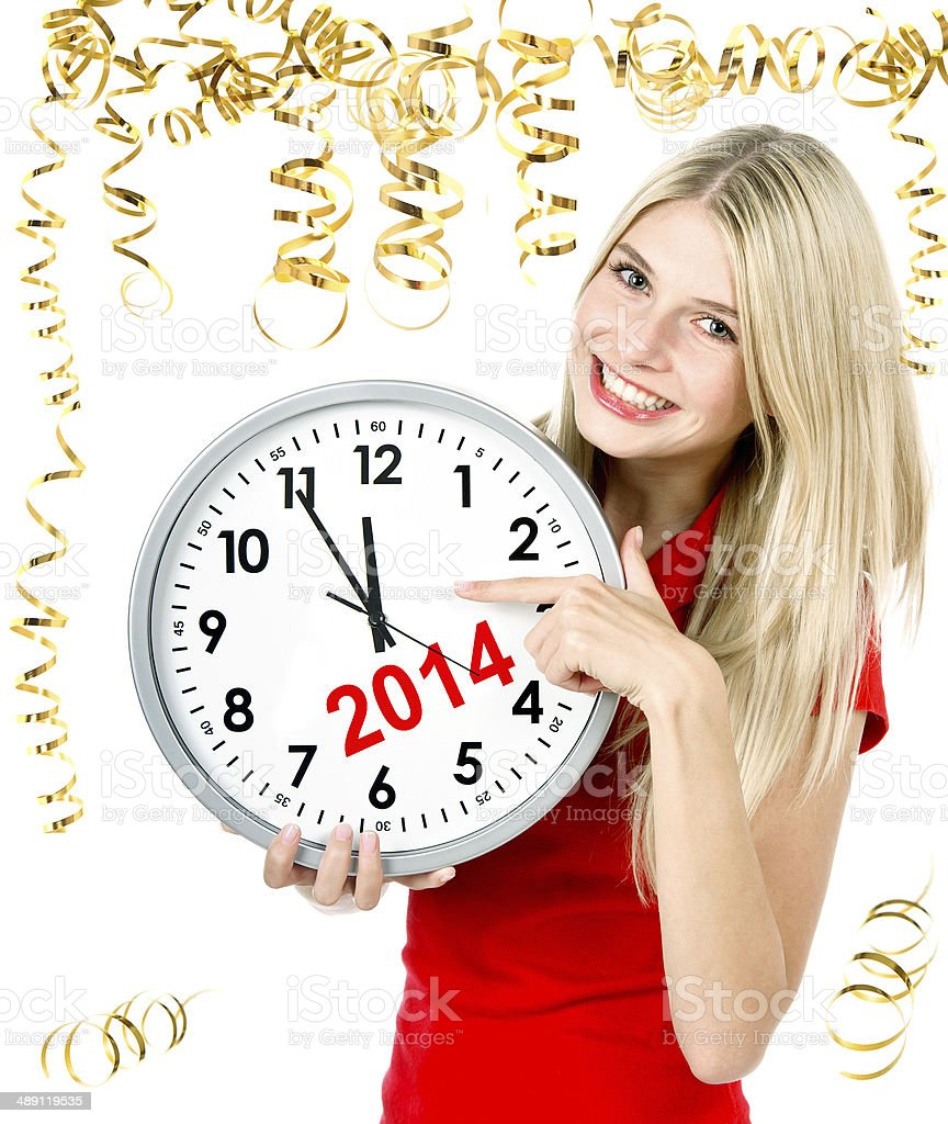partytime. five to twelve. young beautiful woman stock photo