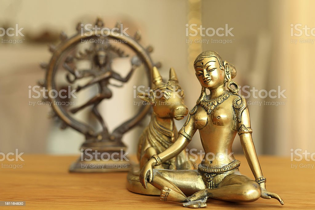 Parvati and a holey kow stock photo