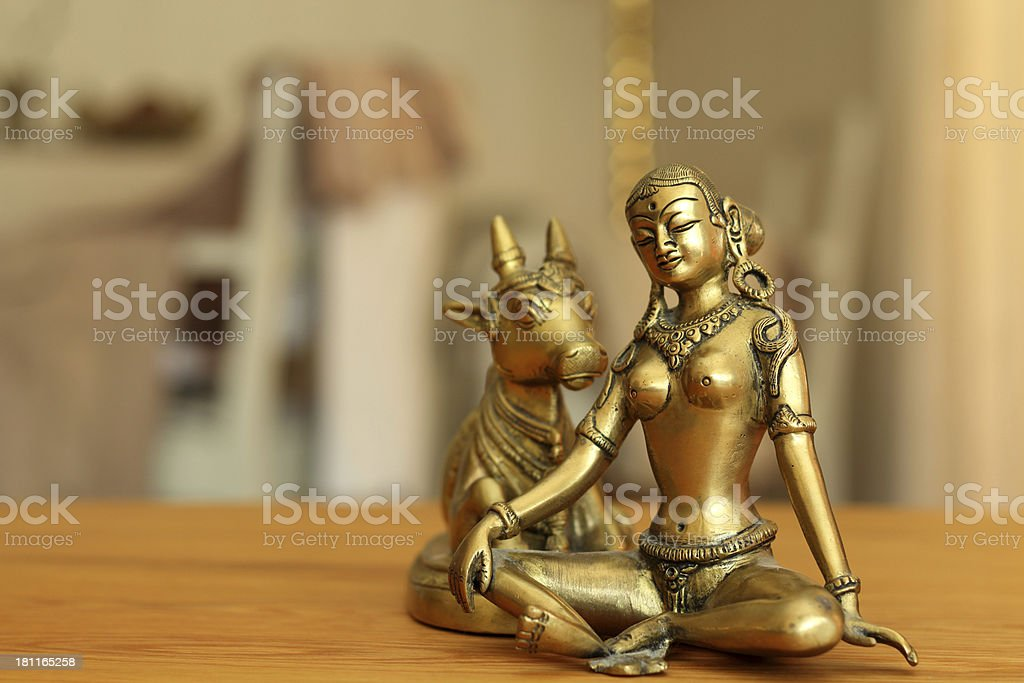 Parvati and kow in brass shimmer stock photo