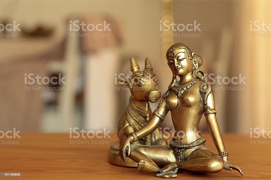 Parvati and kow in golden shimmer stock photo
