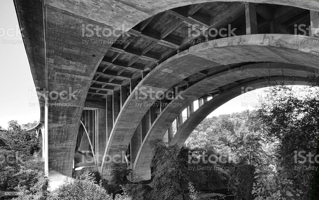 Pasadena Bridge in black and white stock photo