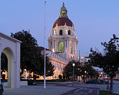 A twilight view of the iconic Pasadena City Hall in Los Angeles County. This building is listed in the National Register of Historic Places.