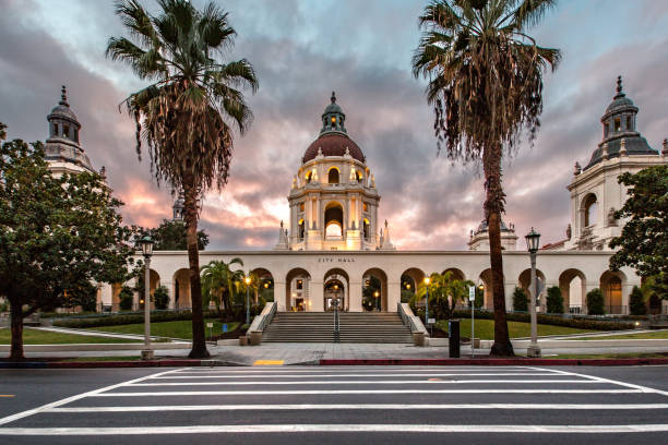 Pasadena City Hall pasadena city hall showing staircases, towers, front and rear elevations, courtyard and foyer courtyard stock pictures, royalty-free photos & images