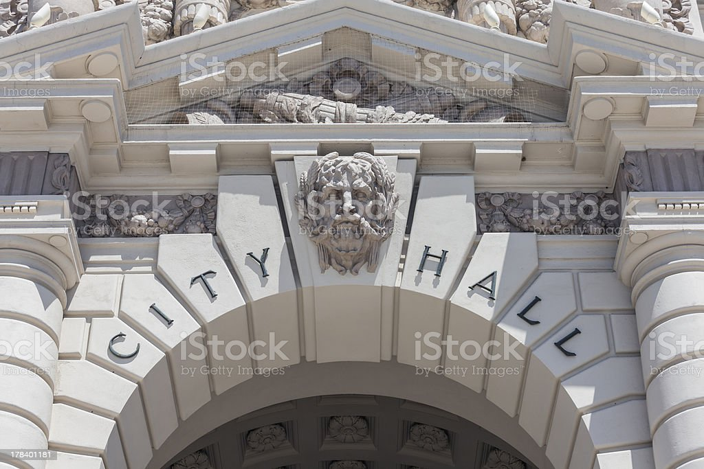 Pasadena City Hall Sign Detail stock photo