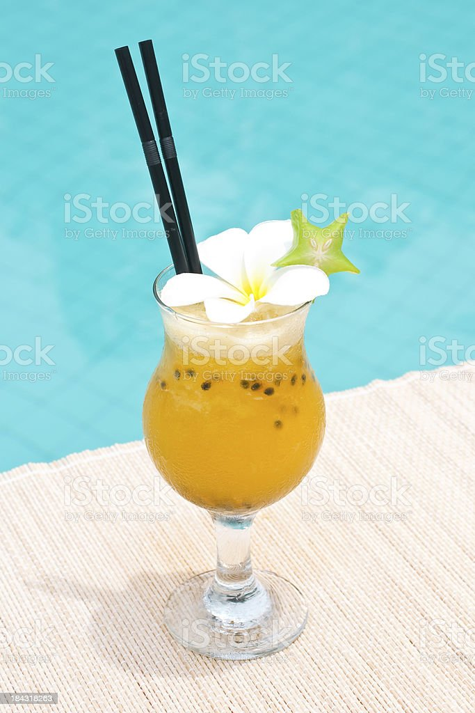 Pasadena cocktail near waterpool on the mat royalty-free stock photo