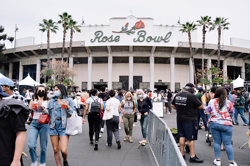 Pasadena, California/USA - April 11, 2021: The Rose Bowl Flea Market re-opens on April 11th, 2021 for the first time after being closed for the pandemic