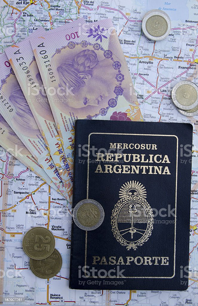 Pasaporte Argentino ,Plata, Mapa stock photo