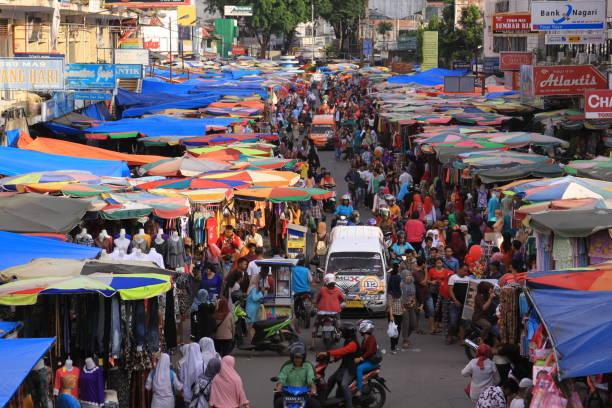 Pasar Raya crowded market in Padang, West Sumatra stock photo