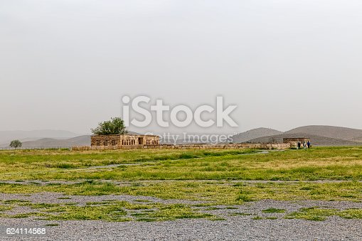 Mozaffarid caravansarai ruins, part of the old archaeological site near the tomb of Cyrus the Great, Pasargad Iran.