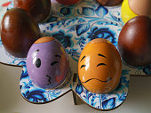 Paschal eggs decoration. Macro photography.