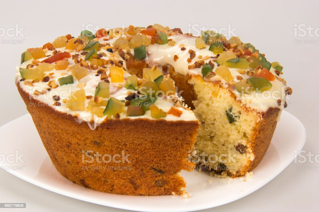 Paschal fruit cake. Candied fruit cake, typical at Easter. royalty-free stock photo