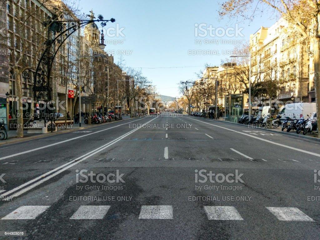 paseig paseo de gracia barcelona empty bus moto stock photo