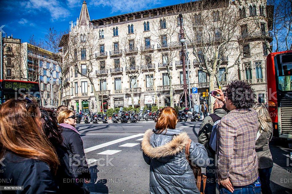 Paseo de Gracia Avenue in Barcelona stock photo