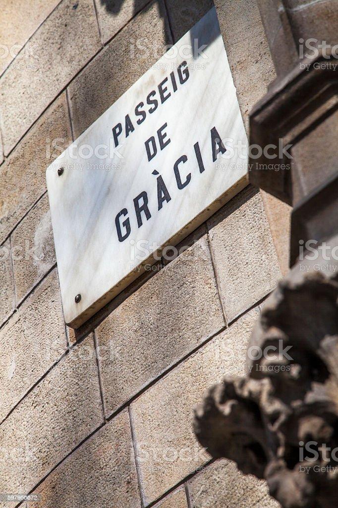 Paseo de Gracia avenue, the luxury street of Barcelona stock photo