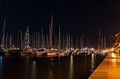 Maritime promenade, Paseo maritimo at night - Palma de Mallorca, Balearic Islands, Spain