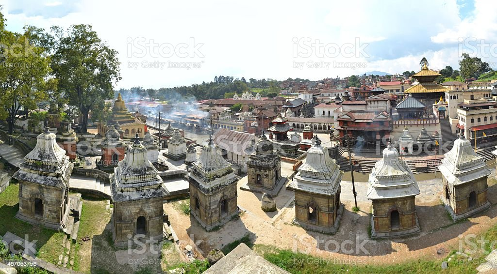 Pashupatinath temple and cremation ghats, Khatmandu stock photo