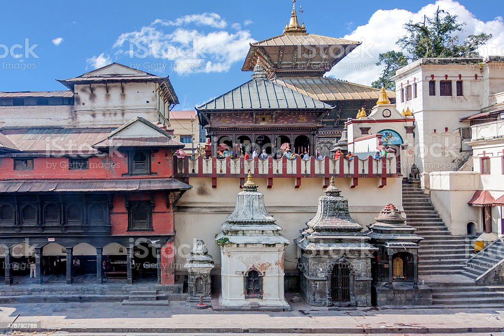 Pashupatinath Temple from across the Bagmati River stock photo