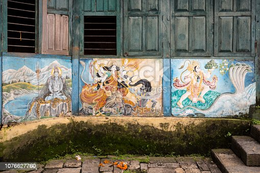 Painted façade on the Pashupatinath Temple, the most famous and sacred Hindu temple complex, located on the banks of the sacred Bagmati River, Kathmandu Valley, Nepal. Photo taken on 31 July 2018.