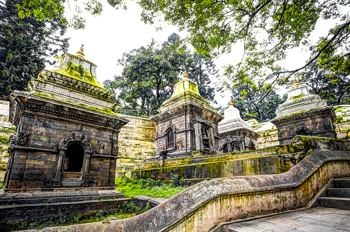 Pashupatinath Temple, the most famous and sacred Hindu temple complex, an UNESCO World Heritage Site located on the banks of the sacred Bagmati River, Kathmandu Valley, Nepal.