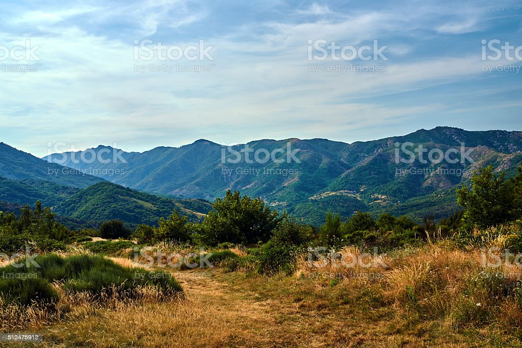 Pass and valley in the mountains stock photo