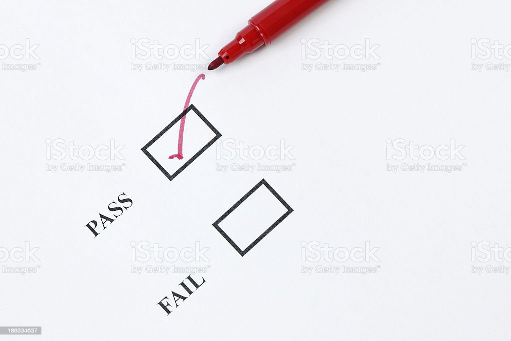 Pass - Exam Mark or Quality Control royalty-free stock photo