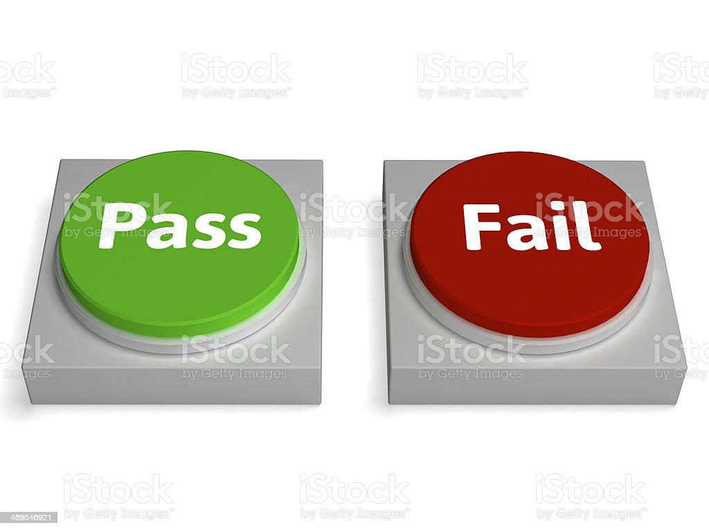 Pass Fail Buttons Shows Passed Or Failed royalty-free stock photo