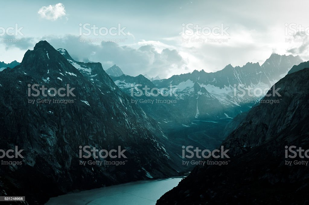 pass Grimselpass and lake Grimselsee in the Swiss Alps stock photo