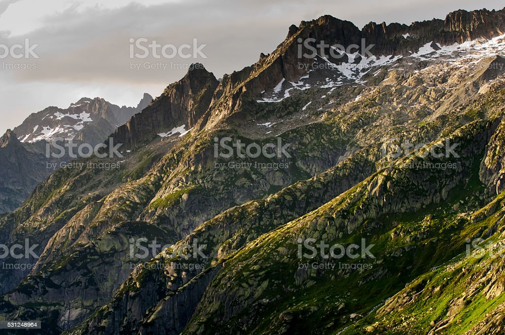 pass Grimselpass in the Swiss mountains stock photo