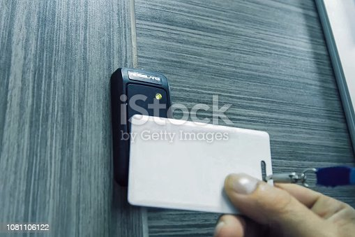 istock pass to access the room. Pass in hand 1081106122