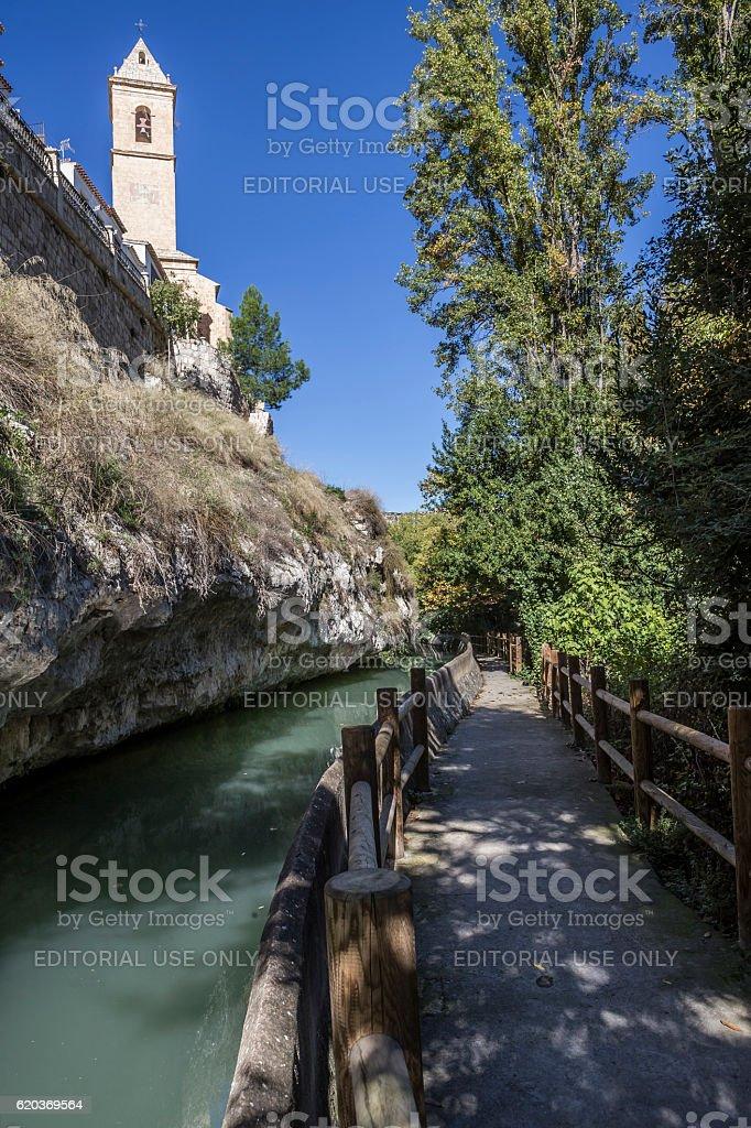 Passage along the river Jucar, church of San Andres zbiór zdjęć royalty-free