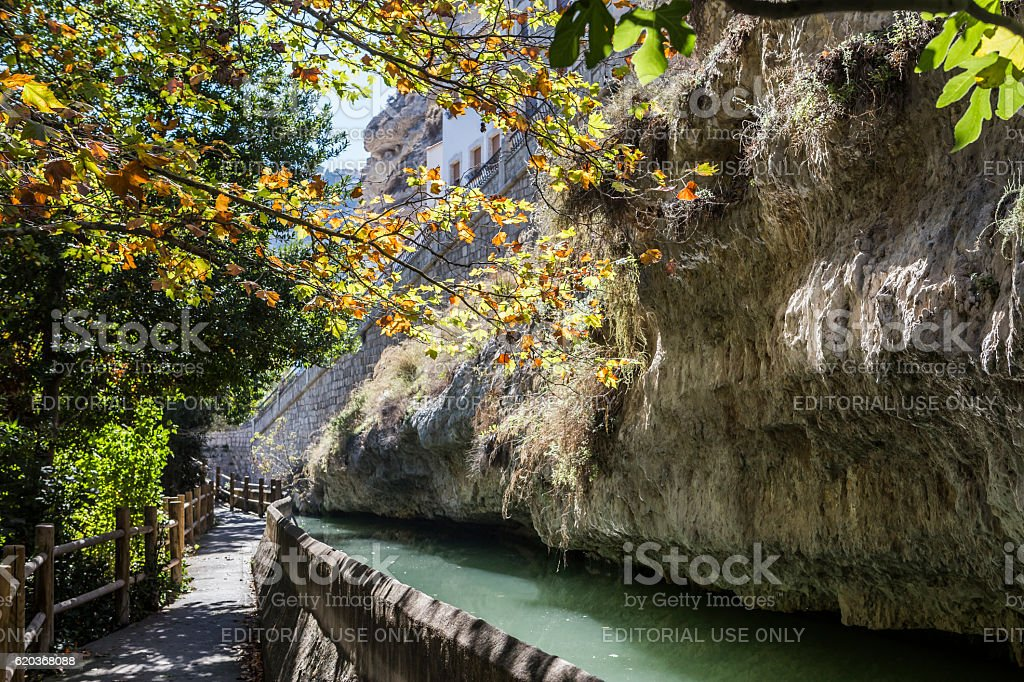 Passage along the river Jucar during autumn, Spain zbiór zdjęć royalty-free