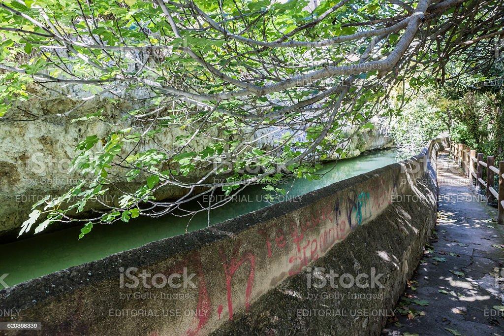 Passage along the river Jucar during autumn, Spain zbiór zdjęć royalty-free