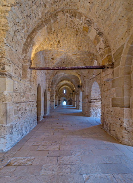 Passage at the Citadel of Qaitbay, an old historical castle in Alexandria, Egypt stock photo