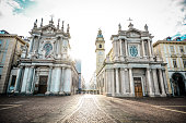 istock Passage In San Carlo Square And Twin Churches In Torino, Italy 1251486923