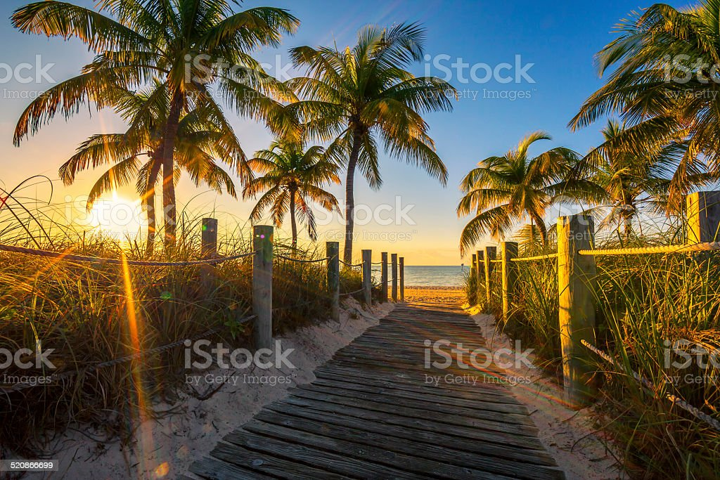 Passage to the beach at sunrise stock photo