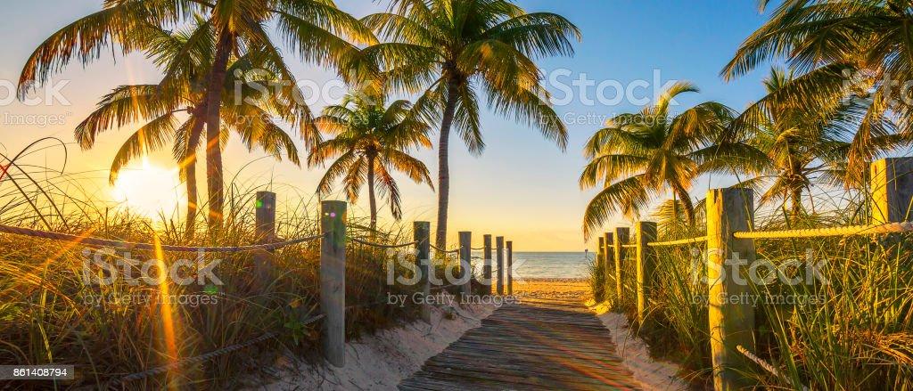 Passage to the beach at sunrise stock photo