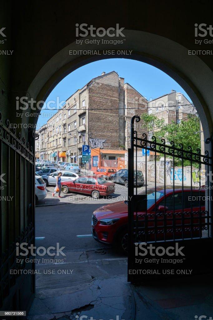 Passage to the street in Belgrade stock photo