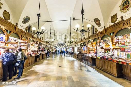 istock Passage with artistic craft souvenir stalls of the gothic cloth 502818493