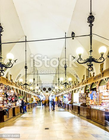istock Passage with artistic craft souvenir stalls of the gothic cloth 502818495