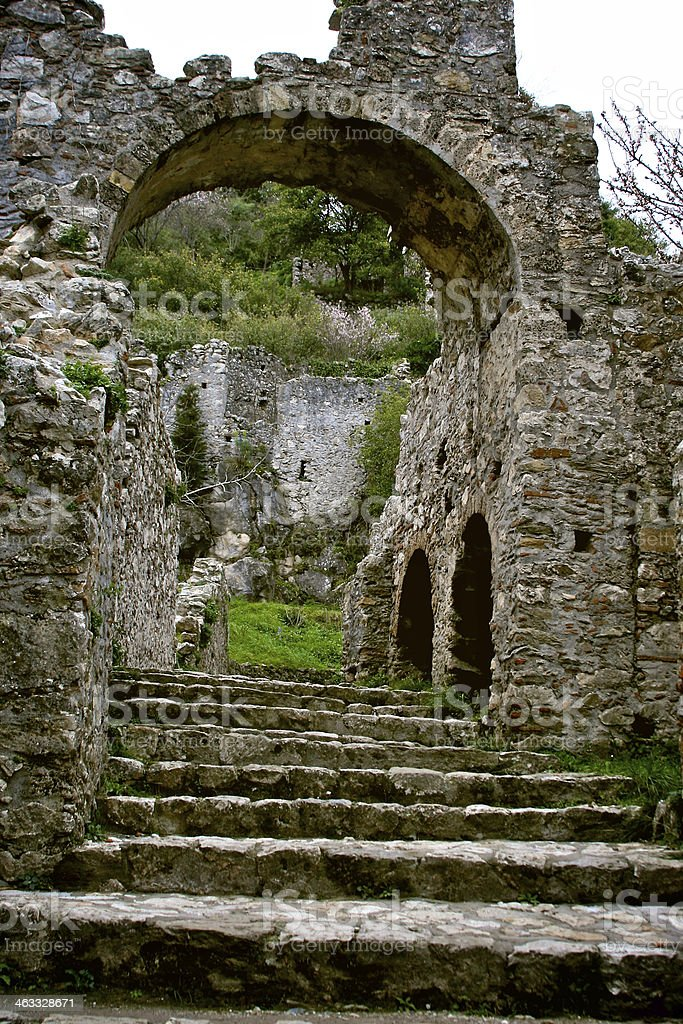 Passages and stairs in greek fortress city - Mystras royalty-free stock photo