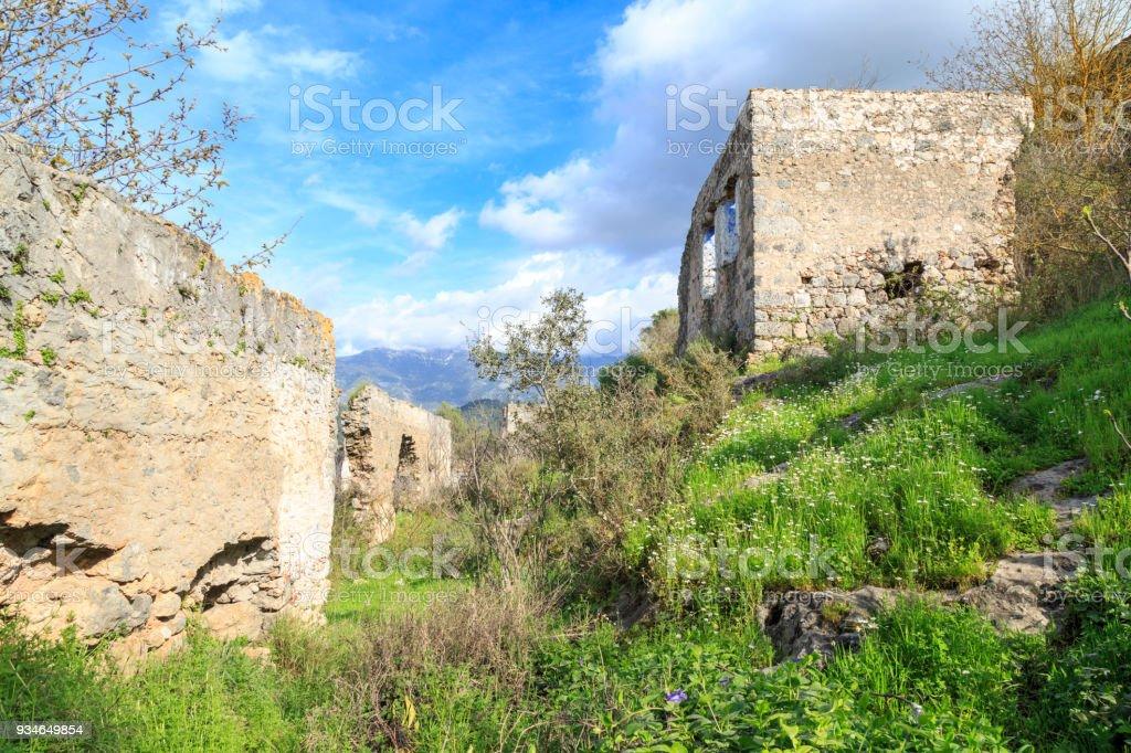 Passages in Kayakoy (karmylassos) old greek village in fethiye, Turkey stock photo