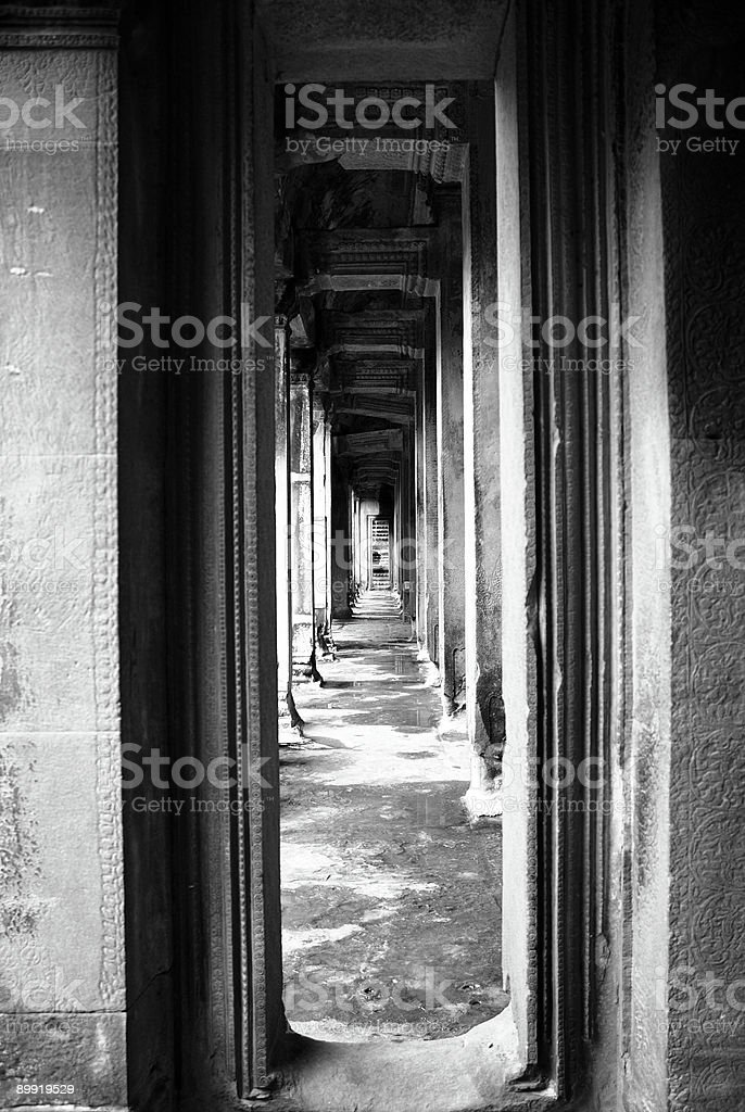 Passageway in Angkor Wat royalty-free stock photo