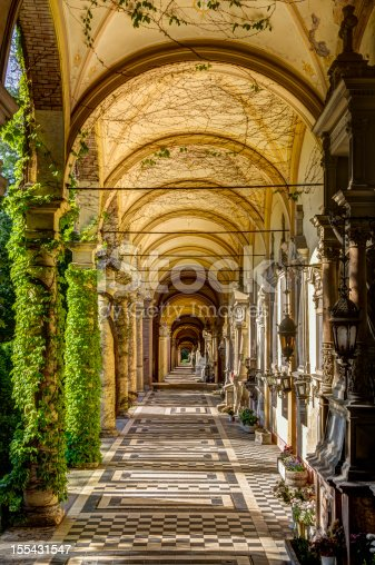 Arched collonade and stairs along a passage way in Mirogoj cemetery. Zagreb, Croatia
