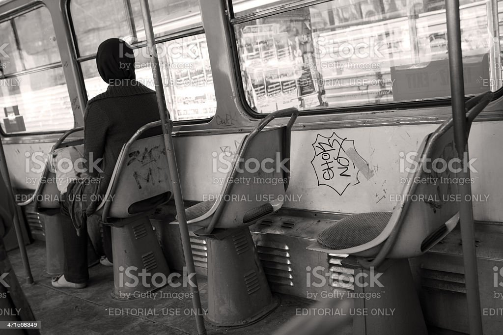 Passanger on the tram royalty-free stock photo