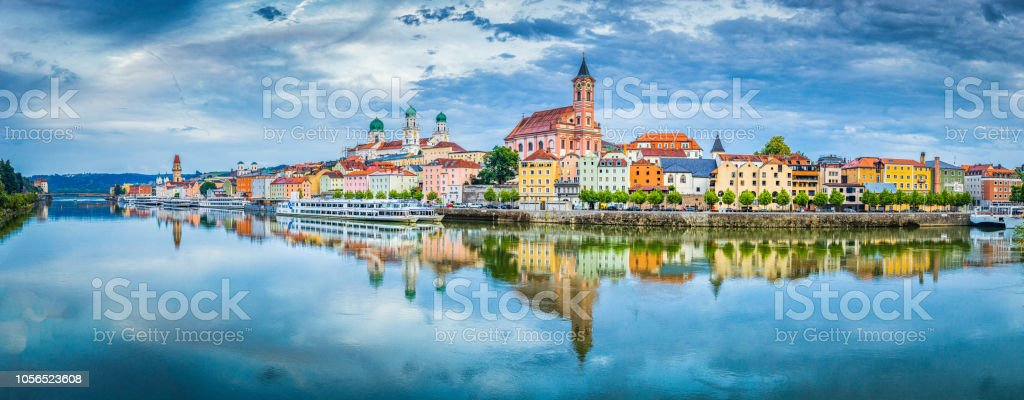 Passau city panorama with Danube river at sunset, Bavaria, Germany stock photo