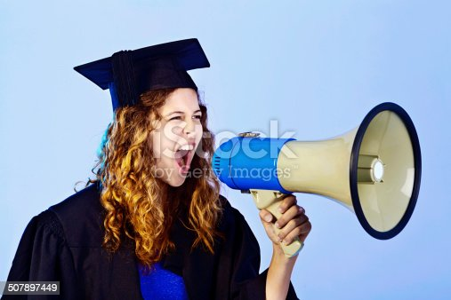 1166716628 istock photo I passed!!! Beautiful young graduate yells triumphantly into bullhorn 507897449
