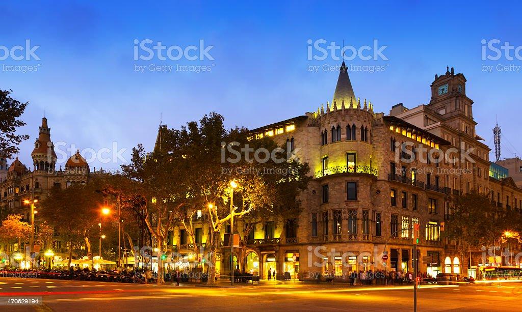 Passeig de Gracia in autumn  twilight. Barcelona stock photo