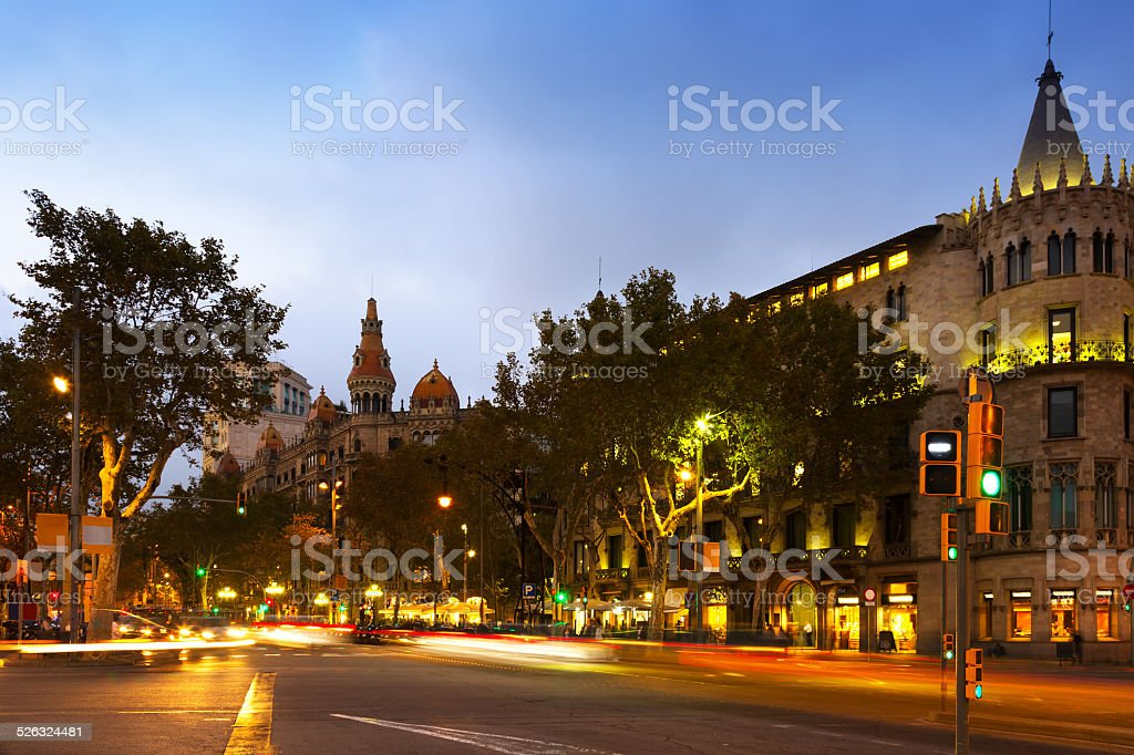 Passeig de Gracia in october twilight. Barcelona stock photo