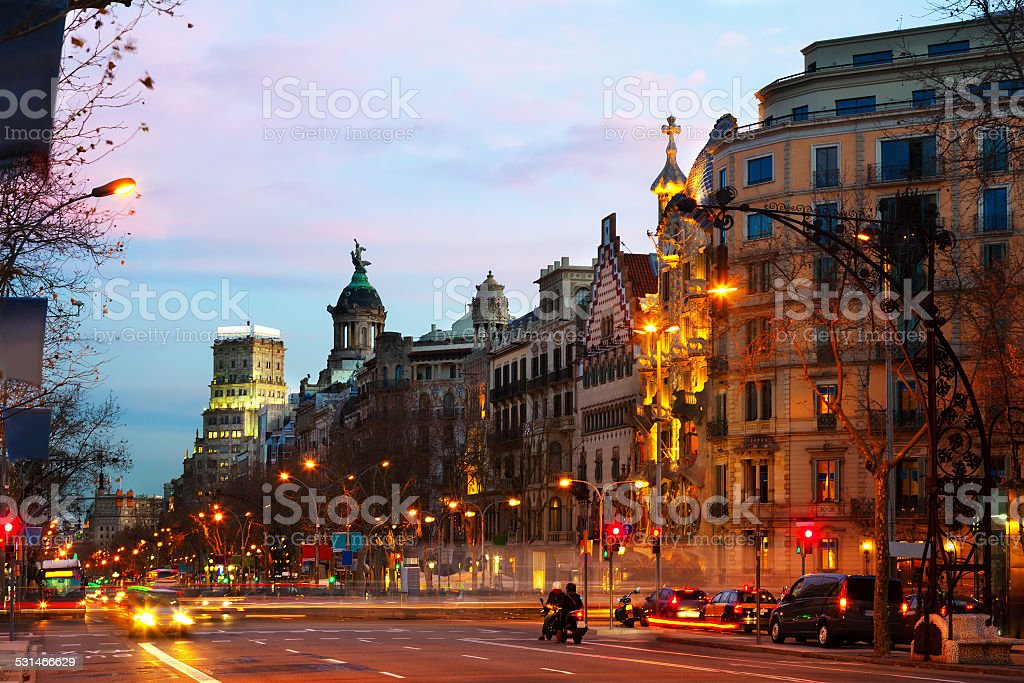 Passeig de Gracia  in winter dawn. Barcelona, Spain stock photo
